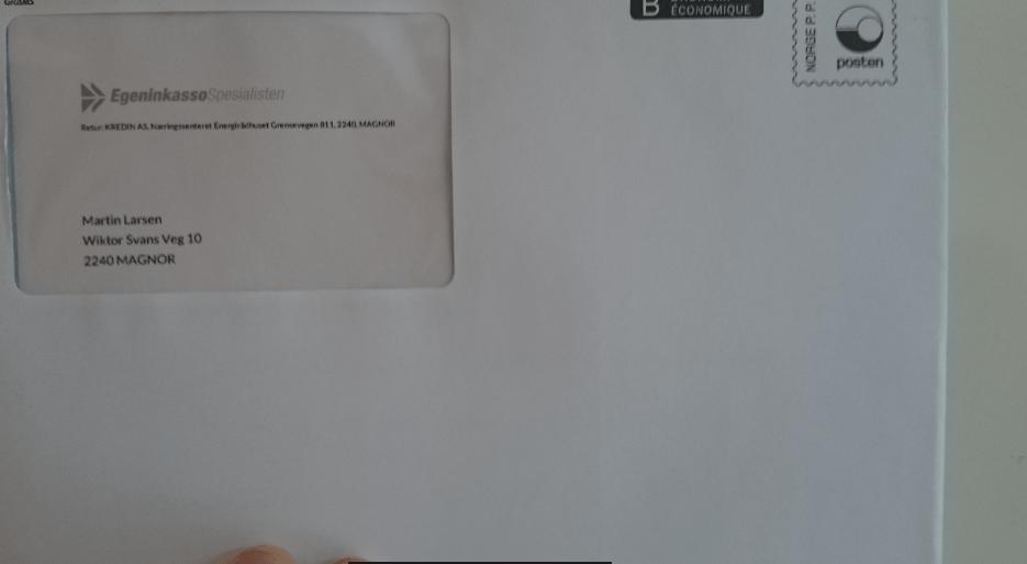 brev sendt automatisk med kredins nye inkassosystem